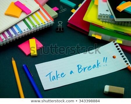 mensagem · trabalhando · secretária · quebrar · escritório - foto stock © user_9323633