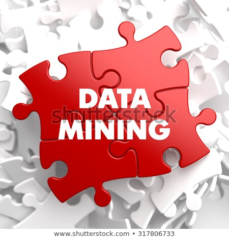 Data Mining on Red Puzzle. Stock photo © tashatuvango