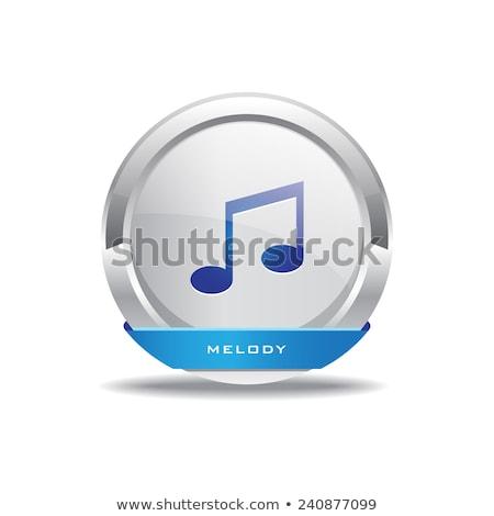 Muziek nota vector Blauw web icon Stockfoto © rizwanali3d