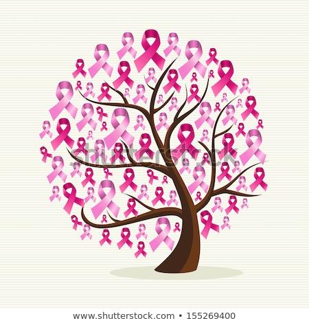 дерево розовый осведомленность лента женщину девушки Сток-фото © sognolucido
