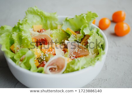 Zöldség saláta sajt sonka konyha levelek Stock fotó © fanfo