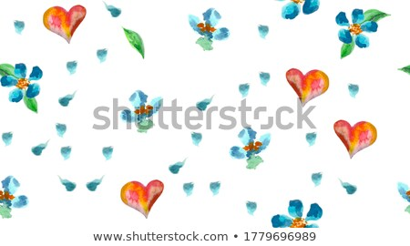 heart symbol from motley flowers on white stock photo © boroda