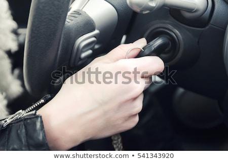 Kobieta kluczyki kobiet kierowcy pojazd silnika Zdjęcia stock © stevanovicigor