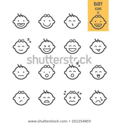 Cute bébé visage émotion icône illustration Photo stock © kiddaikiddee