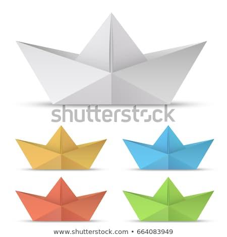 papel · barco · silhueta · solitário · menino · navegação - foto stock © devon