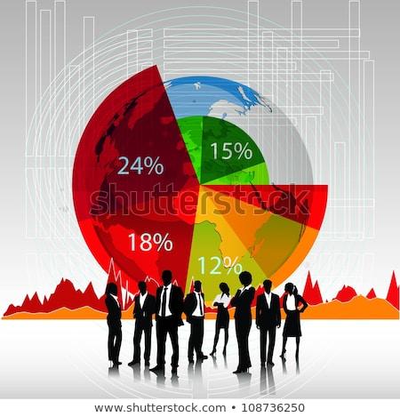 Geschäftsleute Silhouetten Tortendiagramm Business Finanzen Statistik Stock foto © dolgachov