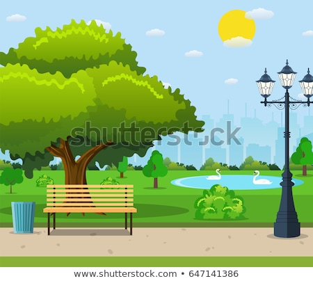 Scene of public park with bench and lamps Stock photo © bluering