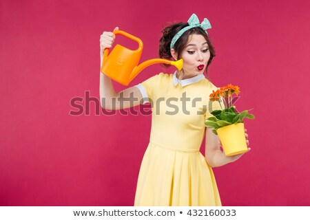Pin-up girl with a watering can stock photo © iko