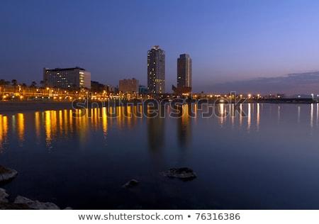 Barcelona · tengerpart · Spanyolország · város · tenger · sziluett - stock fotó © artjazz