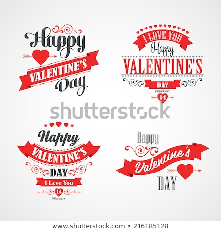 happy valentines day lettering card typographic with ornaments hearts ribbon and arrow stock photo © fresh_5265954