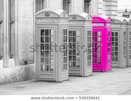 Beş kırmızı Londra telefon kutuları tüm Stok fotoğraf © chrisukphoto