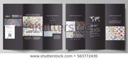 colorful tri fold brochure design made with circles Stock photo © SArts