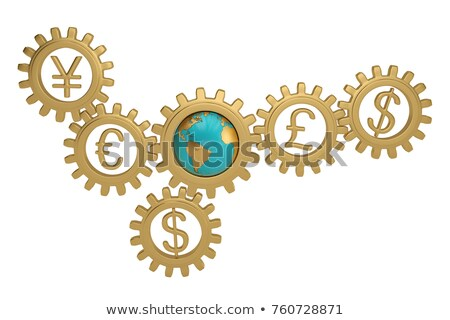 Golden Gears with Stock Trading Concept. 3D Rendering. Stock photo © tashatuvango