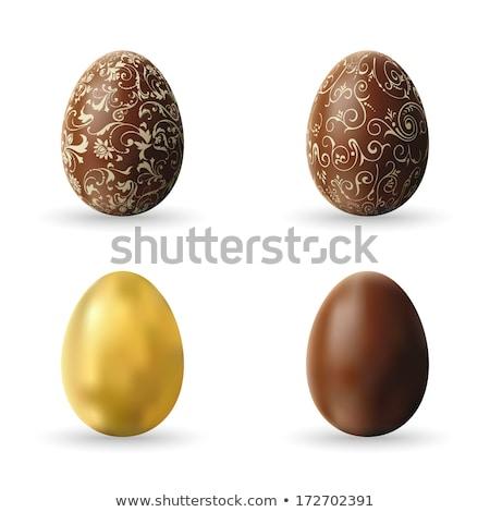Brązowy easter egg odznaczony biały czekolady odizolowany Zdjęcia stock © orensila