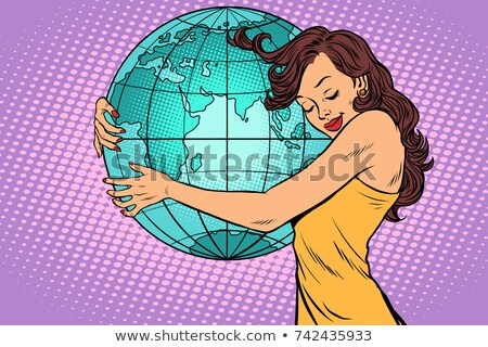 Foto d'archivio: Woman Hugging The Earth Continent Of Africa And Eurasia