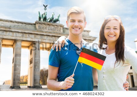 Two males smiling with German flag Stock photo © IS2