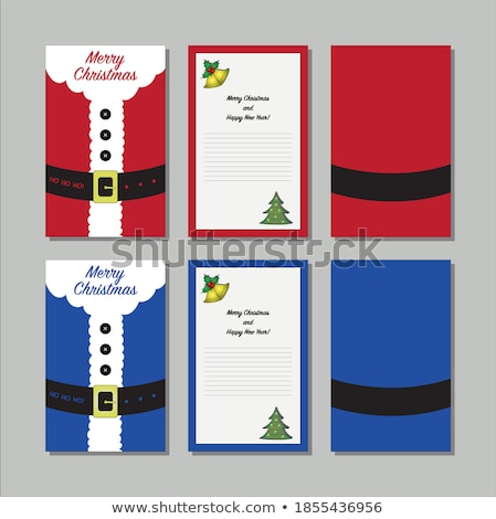 set of marry christmas and happy new year banner on red background with snowflakes and gift boxes v stock photo © leo_edition