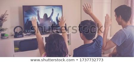 Rodziny modlić kościoła czarno białe ilustracja modląc Zdjęcia stock © lenm