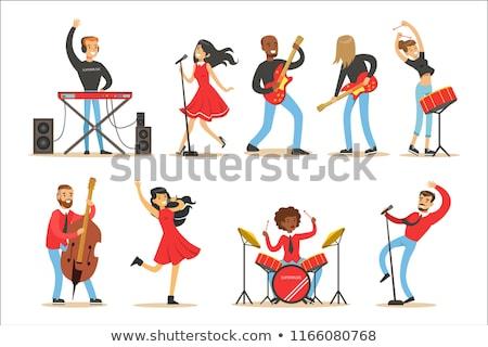 ゴス · 少女 · ゴーグル · ギター · ステージ · セクシー - ストックフォト © sumners