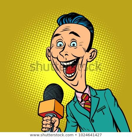 gioioso · tv · cronista · microfono · pop · art · retro - foto d'archivio © rogistok