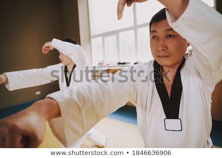 Karate speler oefenen houding fitness studio Stockfoto © wavebreak_media