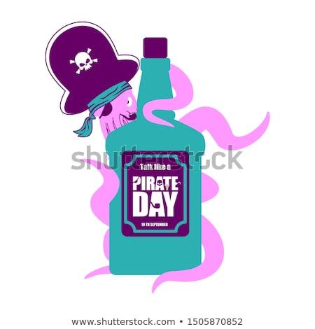 Polpo pirata bottiglia rum grappa Foto d'archivio © popaukropa