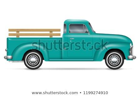 Realistyczny zielone ciężarówka wektora biały Zdjęcia stock © YuriSchmidt