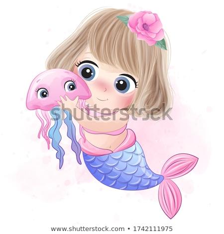 Boldog kicsi meduza rajz illusztráció néz Stock fotó © cthoman