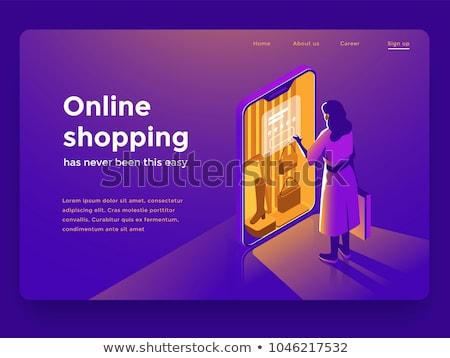 女性 · ショッピング · を · 座って · 表 · ノートパソコン - ストックフォト © decorwithme