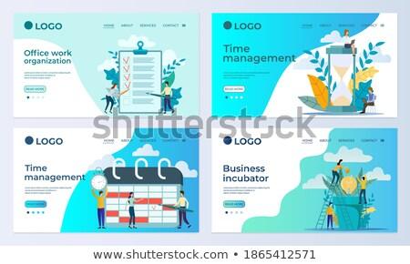 App interfész sablon emberek dolgoznak barátságos nyitva Stock fotó © RAStudio