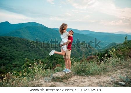 çift sevmek yürüyüş dağlar tepeler Stok fotoğraf © ruslanshramko