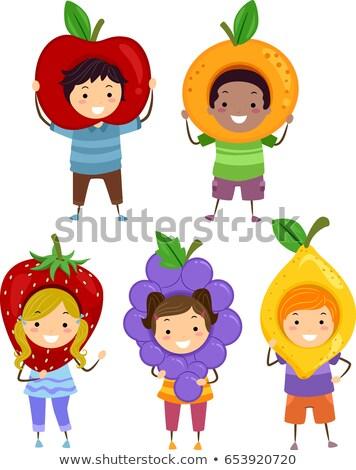 Ragazzi frutta costume illustrazione indossare mela Foto d'archivio © lenm
