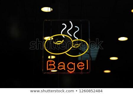 ネオン · カフェ · にログイン · 白 · レンガの壁 · 実例 - ストックフォト © boggy