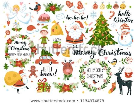 Holly Jolly Greeting Card with Santa, Deer, Elf Stock photo © robuart