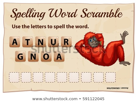Spelling word scramble game for word orangutan Stock photo © colematt