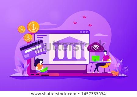 Stockfoto: Open · bancaire · mensen · laptop