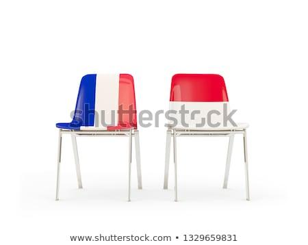 Dwa krzesła flagi Francja Indonezja odizolowany Zdjęcia stock © MikhailMishchenko