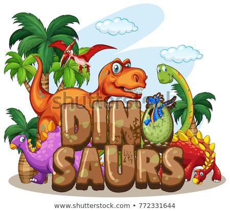 Dinosaur world design with many dinosaurs Stock photo © colematt