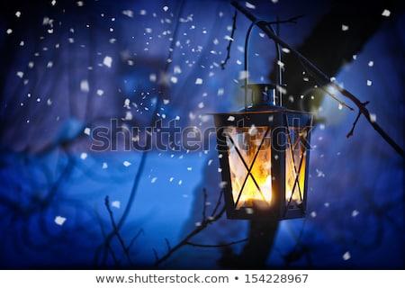 Navidad aire libre vela ardor nieve invierno Foto stock © dolgachov