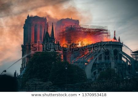 tűz · Notre · Dame-katedrális · Párizs · Franciaország · égbolt · felhők - stock fotó © givaga
