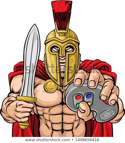 Spartalı truva savaşçı maskot gladyatör video oyunları Stok fotoğraf © Krisdog