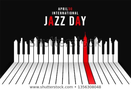 Jazz dzień plakat fortepian miasta budynków Zdjęcia stock © cienpies