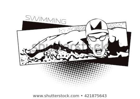 Backstroke Swimmer in Water Vector Illustration Stock photo © robuart