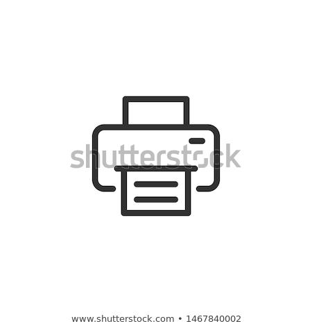 Printer icon Blauw frame ontwerp papier Stockfoto © angelp