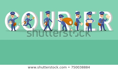 Courier Conceptual Web Banner with Cartoon Postman Stock photo © robuart