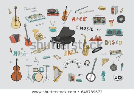 Ingesteld cartoon doodle klassiek muziekinstrumenten objecten Stockfoto © balabolka