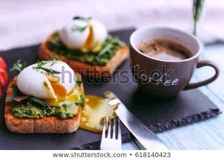 卵 トースト コーヒー 朝食 コーヒーテーブル 屋外 ストックフォト © lovleah