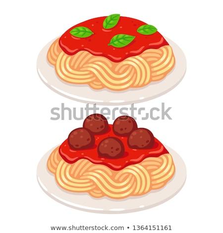 Gehaktballetjes tomatensaus pasta voedsel bal Stockfoto © Alex9500