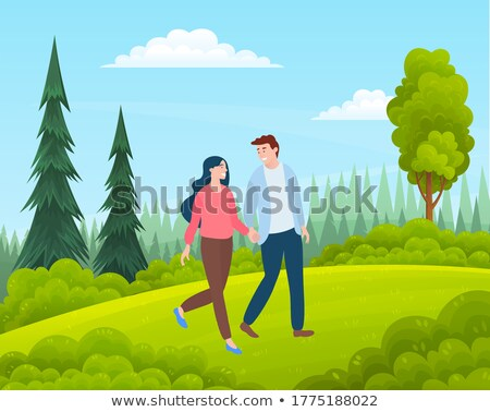 Pár sétál park szerelmespár megbeszélés vektor Stock fotó © robuart
