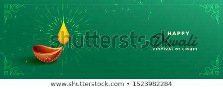 happy diwali green festival banner with diya design Stock photo © SArts